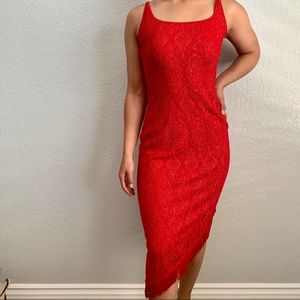Red Lace Dress with Fringe slits